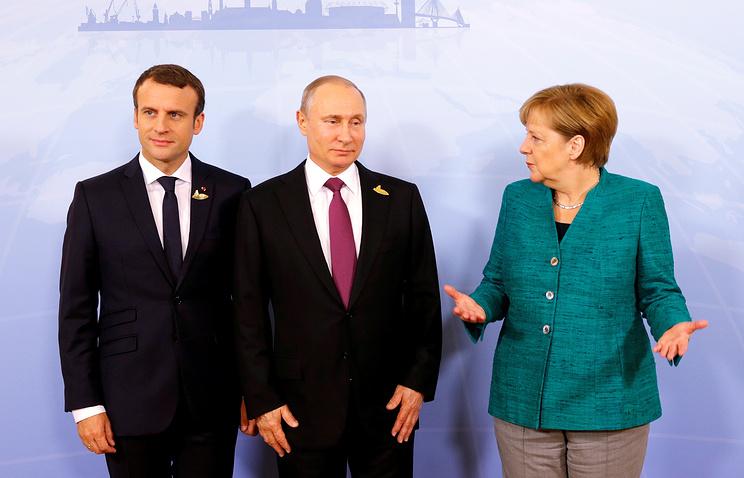 ВГамбурге началась встреча В.Путина, Макрона иМеркель