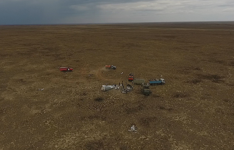 Работа поисковых групп в зонах падения фрагментов первой и второй ступени ракеты-носителя
