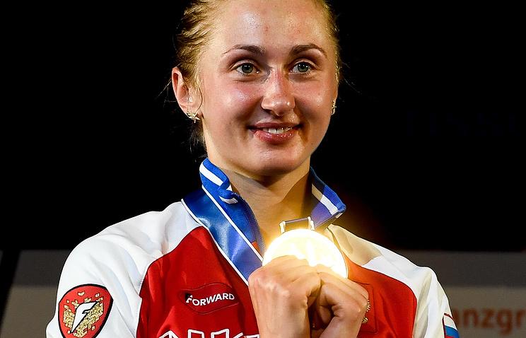 Российская шпажистка Татьяна Гудкова, завоевавшая золотую медаль чемпионата мира по фехтованию в Лейпциге