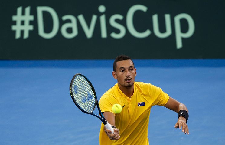Австралийский теннисист Ник Киргиос в матче Кубка Дэвиса