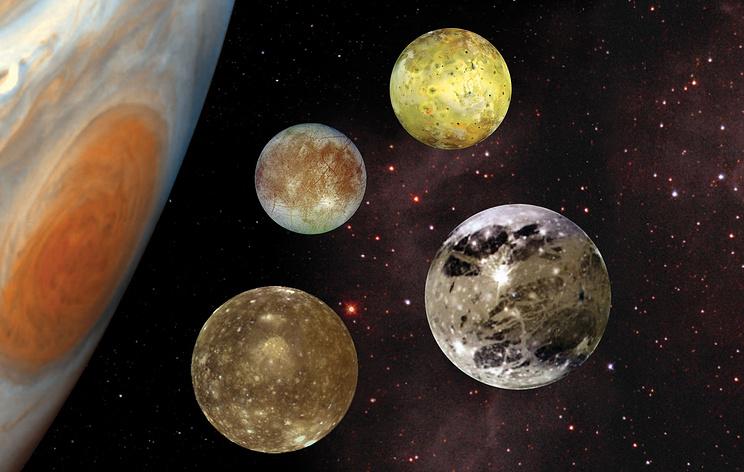 Юпитер и Галилеевы спутники: Ганимед, Европа, Ио, Каллисто