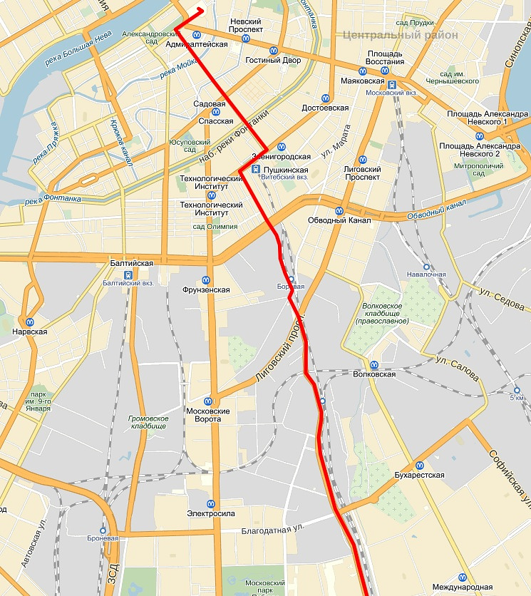 Маршрут велопробега в Санкт-Петербурге