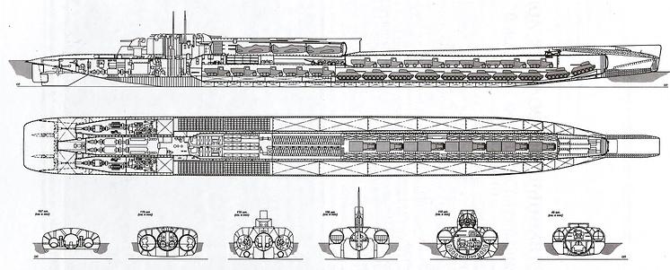 Общее расположение транспортно-десантной подводной лодки проекта 621